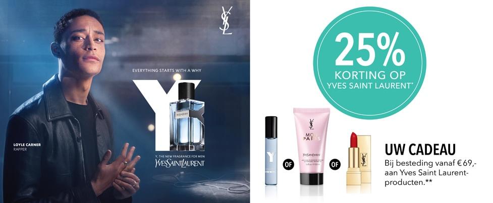 25% korting op Yves Saint Laurent
