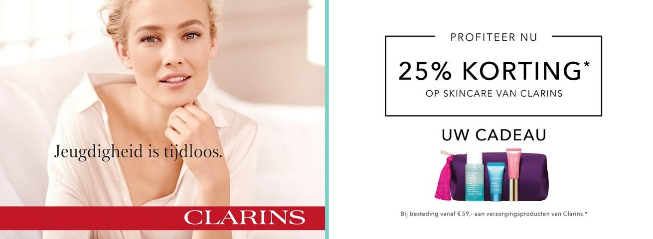 25% korting op Clarins skincare
