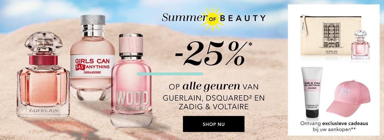 25% korting op alle geuren van Guerlain, Zadig & Voltaire & Dsquared2